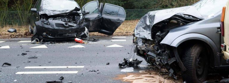 scene of a car accident with two cars